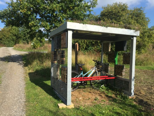 Green roof bin and bike stores